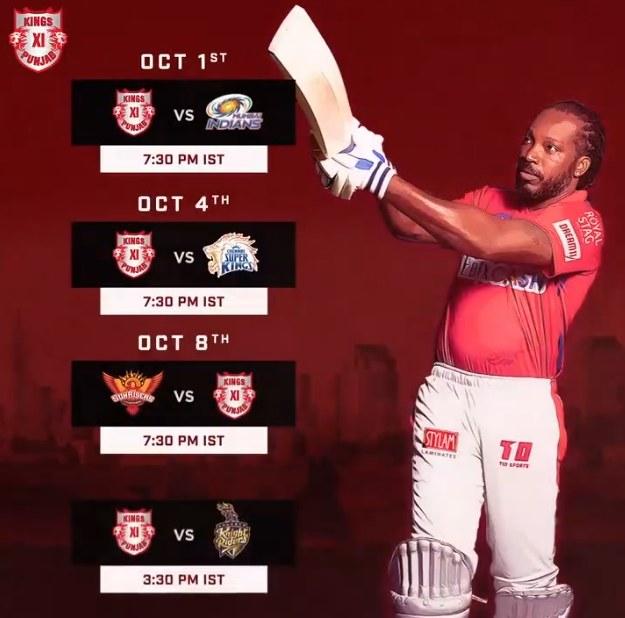 King XI Punjab IPL 2020 Schedule Image