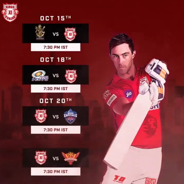 King XI Punjab IPL 2020 Schedule Picture