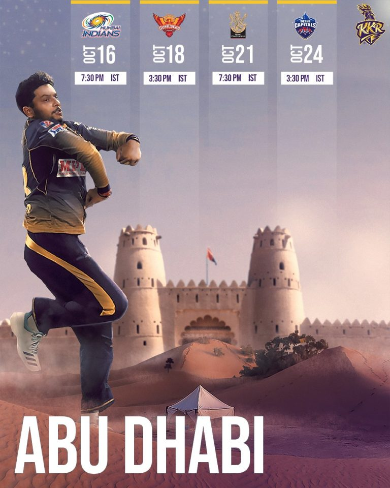Kolkata Knight Riders Matches Schedule Fixture Image Abu Dhabi