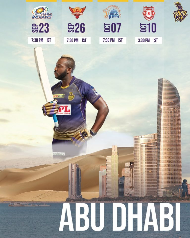 Kolkata Knight Riders Matches Schedule Image Abu Dhabi