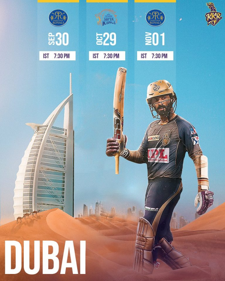 Kolkata Knight Riders Matches Schedule Image Dubai