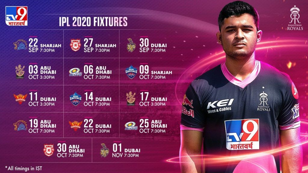 Rajasthan Royals Matches Schedule Image