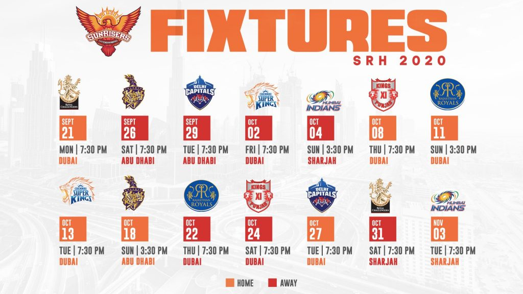 Sunrisers Hyderabad Matches Schedule 2020 Picture