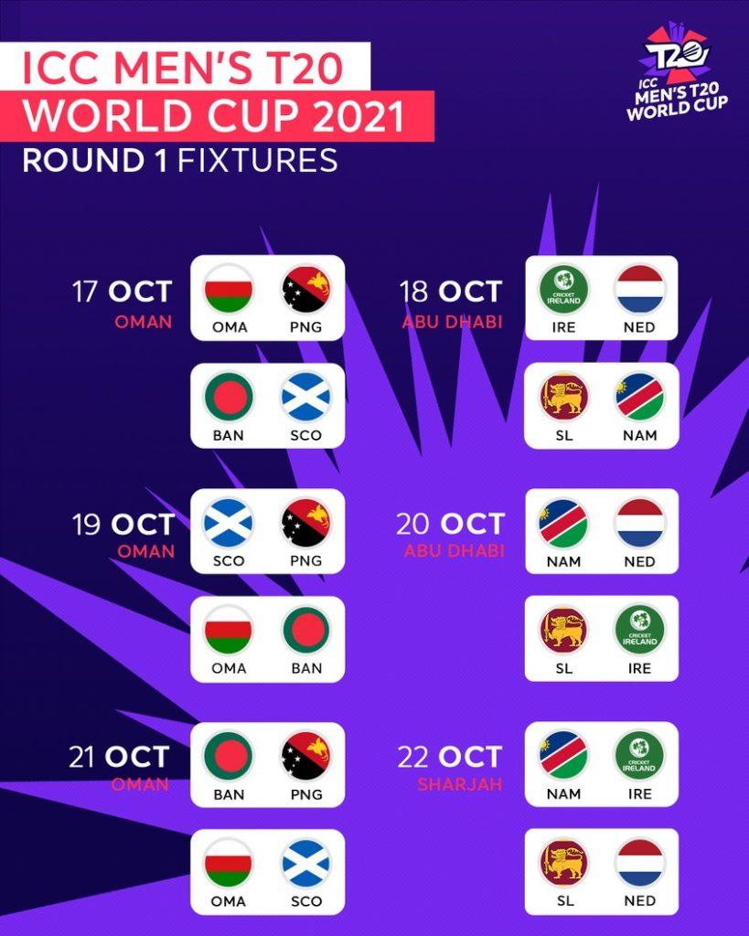 ICC T20 World Cup Round 1 Group 1 Schedule