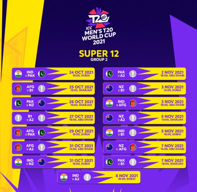 T20 World Cup 2021 Super 12 Group 2 Schedule and Fixture Image HD