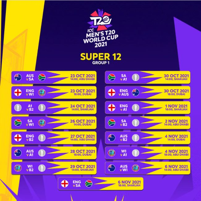 ICC T20 World Cup 2021 Super 12 Group Schedule