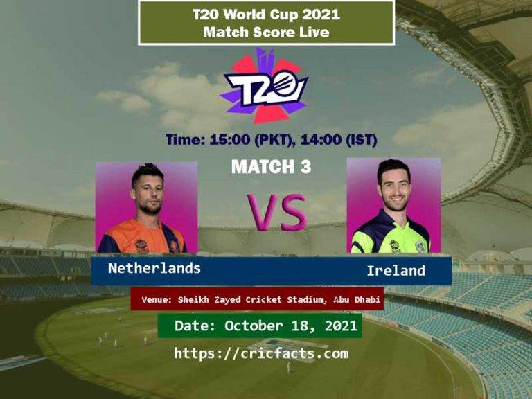 Ireland vs Netherlands Live Score 3rd T20 World Cup Match Live Streaming 17th October 2021