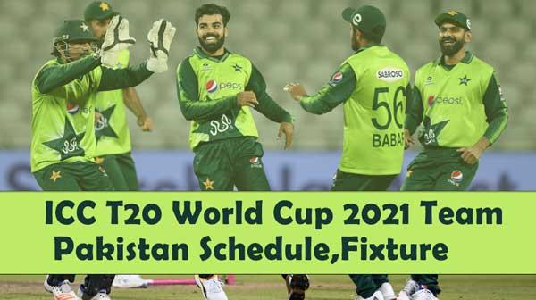 ICC T20 World Cup 2021 Team Pakistan Schedule,Fixture