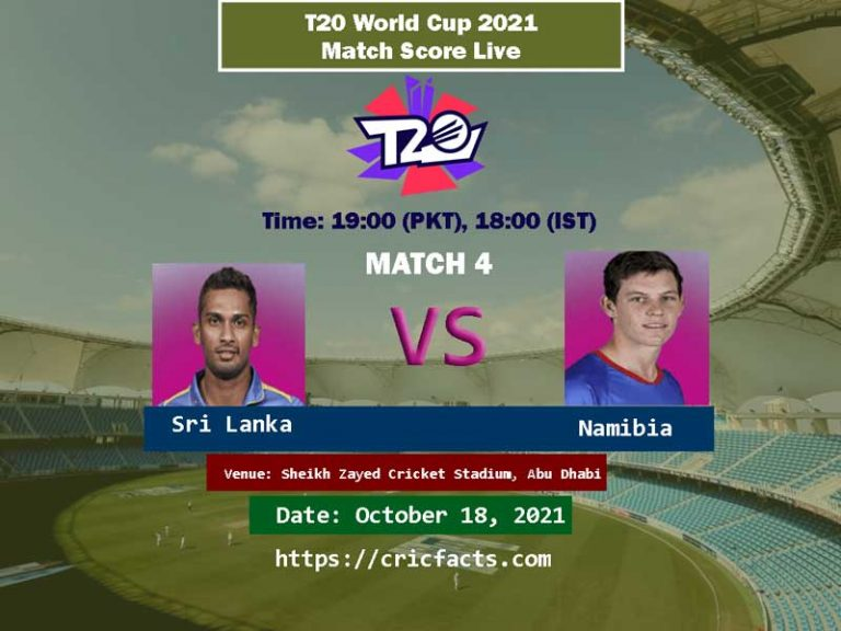 Sri Lanka vs Namibia Live Score 4th T20 WC Match Live Streaming 18th October 2021