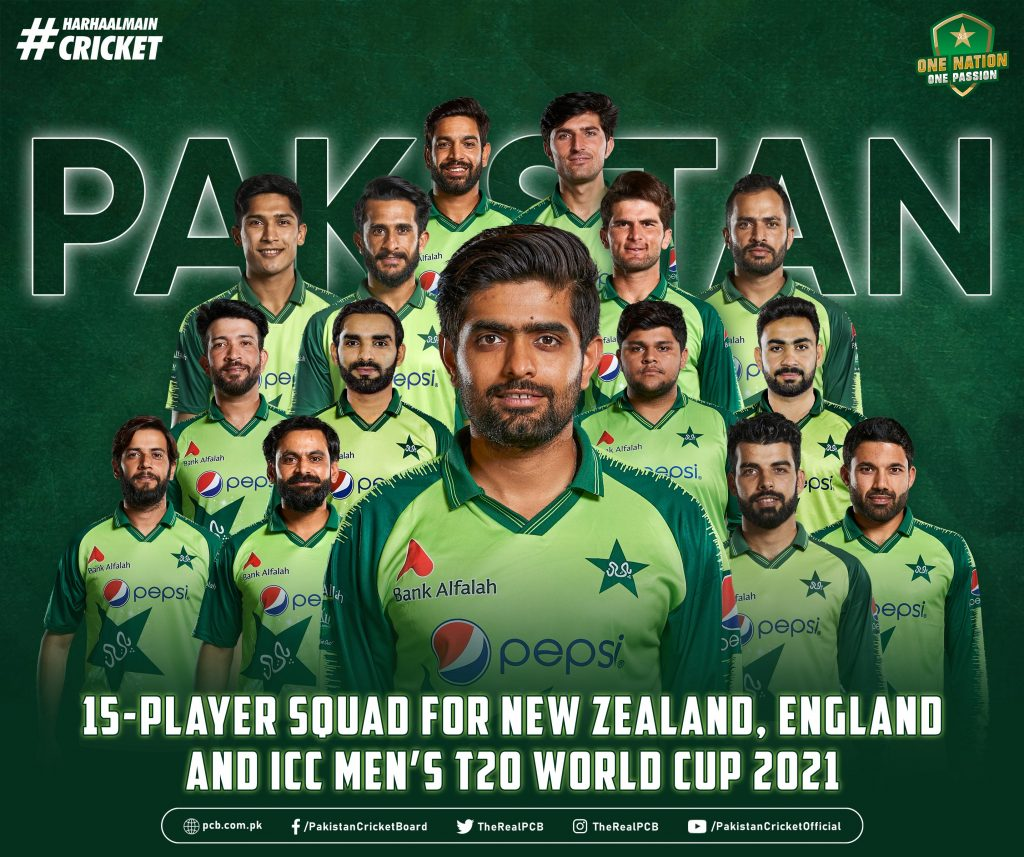 Pakistan Team Squads for ICC T20 World Cup 2021